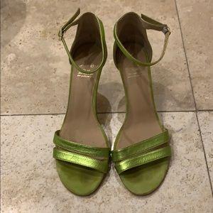 ANTHROPOLOGIE green metallic sandal size 38